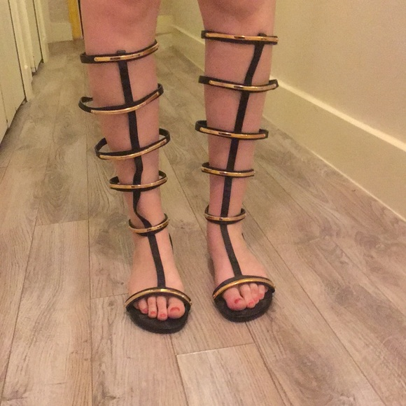 Shoes - Black and gold caged gladiators